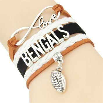 Infinity Love Bengals bracelet sport Football team Charm leather wrap men bracelet & bangles for women jewelry