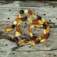 Rainbow Bean Shaped Baltic Amber Teething Necklace