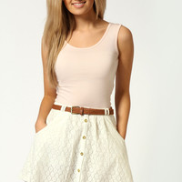 Milly Crochet Button Front Skater Skirt