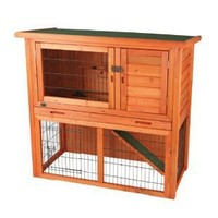 Rabbit Hutch with Sloped Roof (M), Glazed Pine
