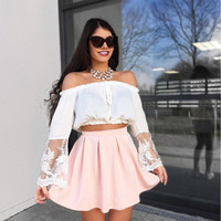 Fashion Off Shoulder Gauze Lace Stitching Long Sleeve Chiffon Crop Tops