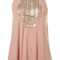 Pale Pink Cornelli Embellished Swing Vest - Tops  - Clothing  - Topshop USA