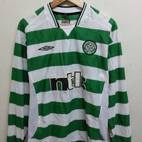 Sale Vintage Celtic Umbro Scotland Football Longsleeve Jersey Shirt