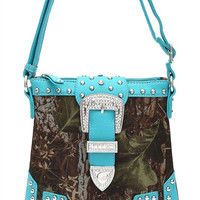 * Western Cowgirl Camouflage Print Rhinestone Belt Deco Messenger Bag In Turquoise
