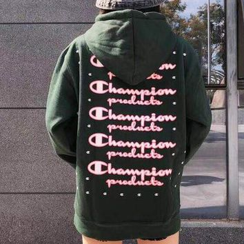 Champion New Fashion Women Men Casual Print Long Sleeve Hoodie Sweater Pullover Top Sweatshirt Army Green