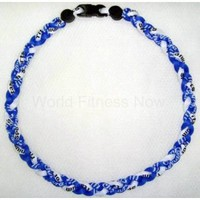 "Amazon.com: 20"" Ionic Titanium Baseball Braided Necklace Sports Softball Royal Blue & White: Everything Else"