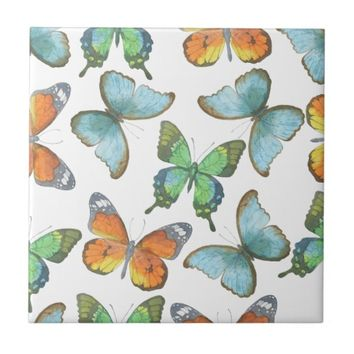 Watercolor Safari: Butterflies Tile