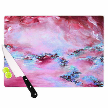 "Ebi Emporium ""Sea To Sky 3"" Pink Abstract Cutting Board"