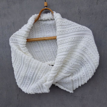 knitted circle scarf, knit white infinity shawl, knitting wrap, hoodies, hooded scarf, women men accessories, knit cowl, winter autumn fall
