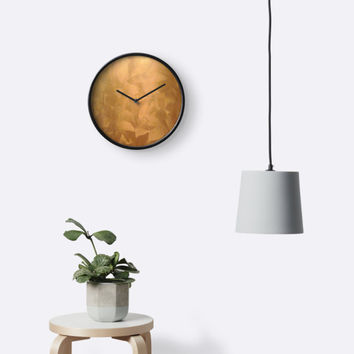 'Brushed Copper Metallic - Rustic Glam - Faux Finishes' Clock by CorbinHenry