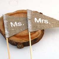 #Mrs and #Ms #centerpiece, #table #decoration, #cake #topper wedding @