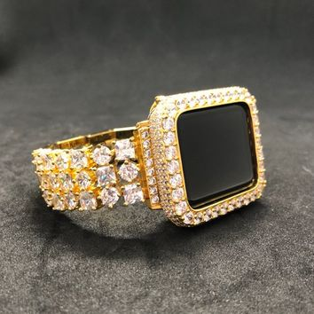 38mm 40mm 42mm 44mm Apple Watch Band Women Mens Princess Gold Rhinestone Crystals/Case Cover Bezel 2mm Lab Diamonds Iwatch Bling Smart Watch