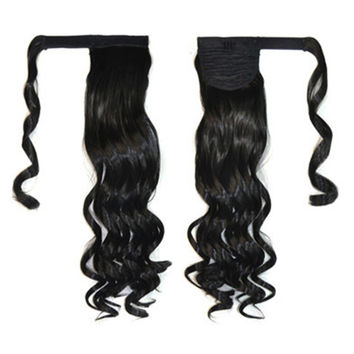 Magic Tape Long Curled Hair Extension Wig    black K06-1B#