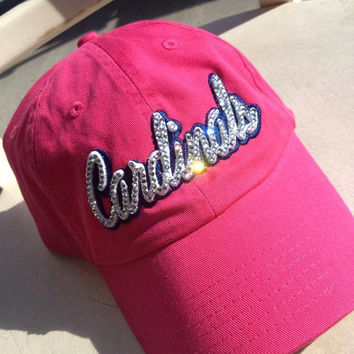 St. Louis, St. Louis cardinals, bling hat, rhinestone hat, custom hat, baseball hat, cadinals, yadier molina, bling, hat