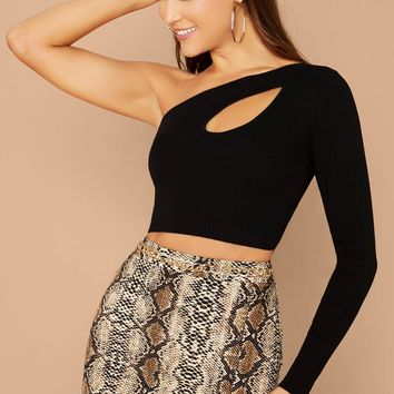 Long Sleeve One Shoulder Cut Out Crop Top