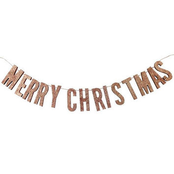 Wooden Rose Gold Glitter Merry Christmas Bunting | Christmas Decorations | Christmas Party Decor | Christmas Garland | Rose Gold Decor