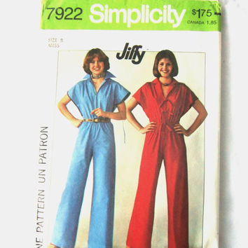 Vintage 1977 Jumpsuit Sewing Pattern, Simplicity Jiffy Pattern 7922, Miss Size 8, Seventies Style, Retro 70s Jumpsuit with Zipper and Collar