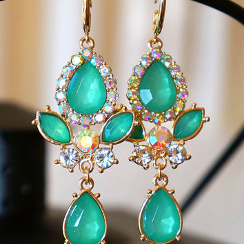 Lavished Teal Green Golden Crystal Earrings, Wedding Jewelry, Chandelier Earrings, Bridal Earrings, Dangle Earrings