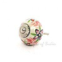 Colorful Ceramic Cabinet Cupboard Dresser Drawer Flower Knobs