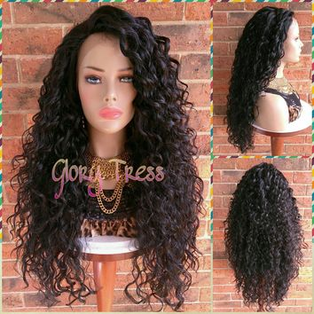 ON SALE // Long Beach Curly Lace Front Wig, 100% Brazilian Human Hair Blend, Big Curly Wig, Free Parting,  // CRYSTAL (Free Shipping)