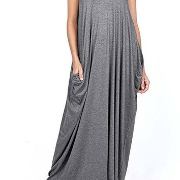 Harem Maxi Dress with Pockets in Charcoal