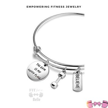 Gym Bracelet The Gym is My Happy Place - Fitness Jewelry, Motivational Gift, Workout Bracelet