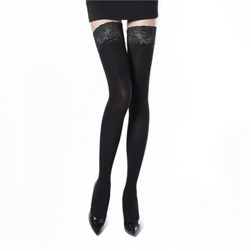Women Lace Hosiery Silicone non-slip Stay Up Thigh High Silk Stockings Hose Ultra Sheer Over Knee Stockings
