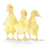 Yellow Ducklings Watercolor Painting - 11 x 14 - Giclee Print - Nursery Art
