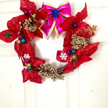 Christmas Wreath//Small//Colorful//Christmas Decorations//Cute Decor
