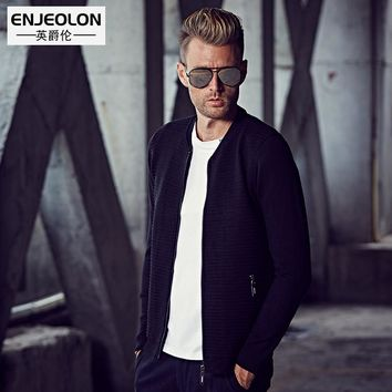 Knitted Cardigan Sweaters Men slim fit V-neck zipper fly clothes solid Black Sweater Knitwear coats