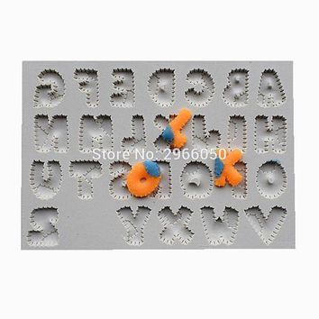 DCCKFS2 Patchwork Font Silicone Mold, Cake Decorative Tool, Bakery Mold, Kitchen Accessories SQ1717