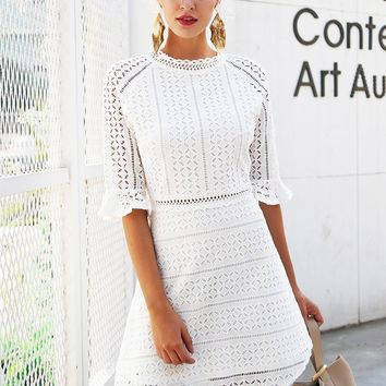 White Hollow Out Lace Dress