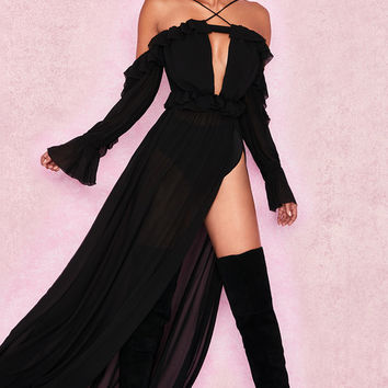 Clothing : Max Dresses : 'Maia' Black Romantic Chiffon Off Shoulder Maxi Dress + Briefs