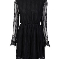 Elegant Transparent Lace Pleated Elastic Waist Women Mini Dress Online - NewChic Mobile.