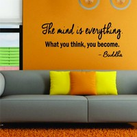 The Mind is Everything Buddha Quote Decal Sticker Wall Art Vinyl Inspirational