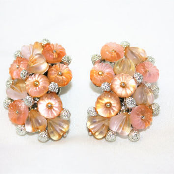 Vintage Pink Earrings  Fruit Salad Earrings, 1950s Jewelry