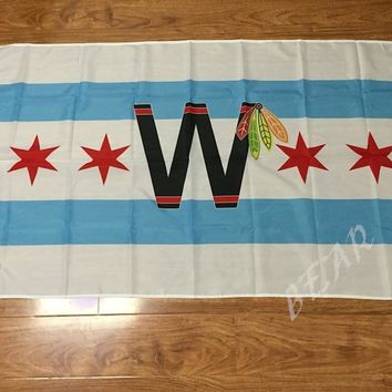 3x5ft Chicago Blackhawks flag 90x150cm Chicago city NHL flag banner sport