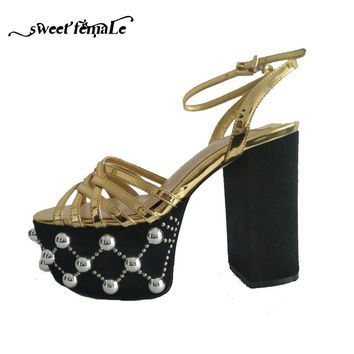 2018 Luxury brands Super high heels Summer sandals Pumps Women Shoes Gladiator Thick with Genuine leather Gold silver Plus size