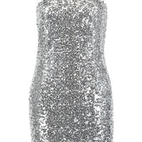 Sequin Square Neck Bodycon Dress | Boohoo