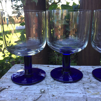 Set of retro cobalt blue stemmed wine goblets, retro glassware with a Modern Danish flair, vintage chunky cobalt blue goblets, wedding table