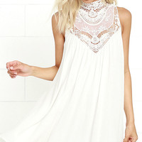 Asana White Lace Swing Dress