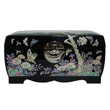 Mother of Pearl Flower Asian Lacquer Women Black Wooden Mirror Jewelry Trinket Keepsake Treasure Gift Girls Necklace Ring Embroidery Box Chest Case Organizer with Peony Design and Fish Lock Key