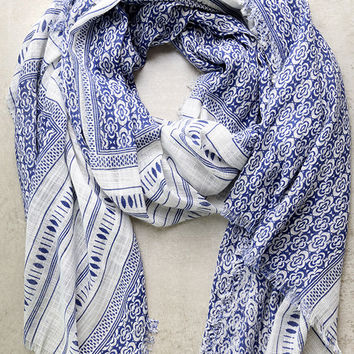 Postcard Collection Blue Print Scarf