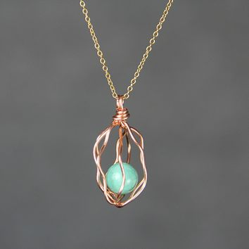 Caged turquoise 14k rose gold filled wire wrapped pendant necklace Bridesmaids gifts Free US Shipping handmade Anni Designs