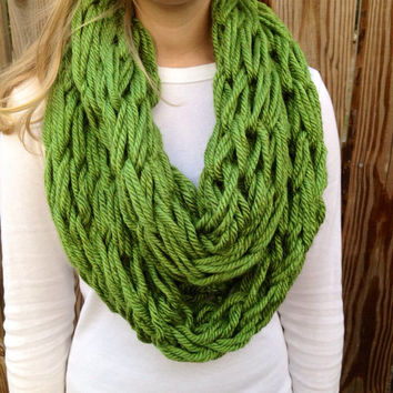 Green Arm Knit Scarf, Chunky Cowl, Thick Infinity Scarf