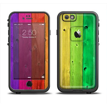 The Rainbow Highlighted Wooden Planks Skin Set for the Apple iPhone 6 LifeProof Fre Case