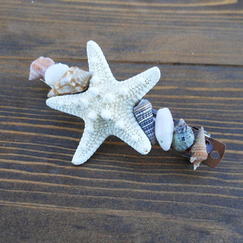 Starfish Hair Barrette - Handmade Seashell Hair Accessory - Natural Seashells - Tiny Seashells - Seashell Hair Accessory