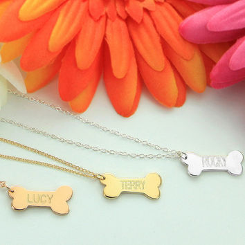 Personalized Bone Name Necklace, Small Dog Bone Charm, Gifts for Dog Lovers, Gold Necklace, Bone Jewelry, Mean Girls Jewelry, Made in USA