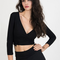 Black V-Neck Wrap Top