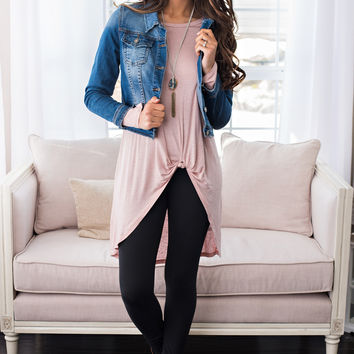 Last Rose Tied Tunic Top (Blush)